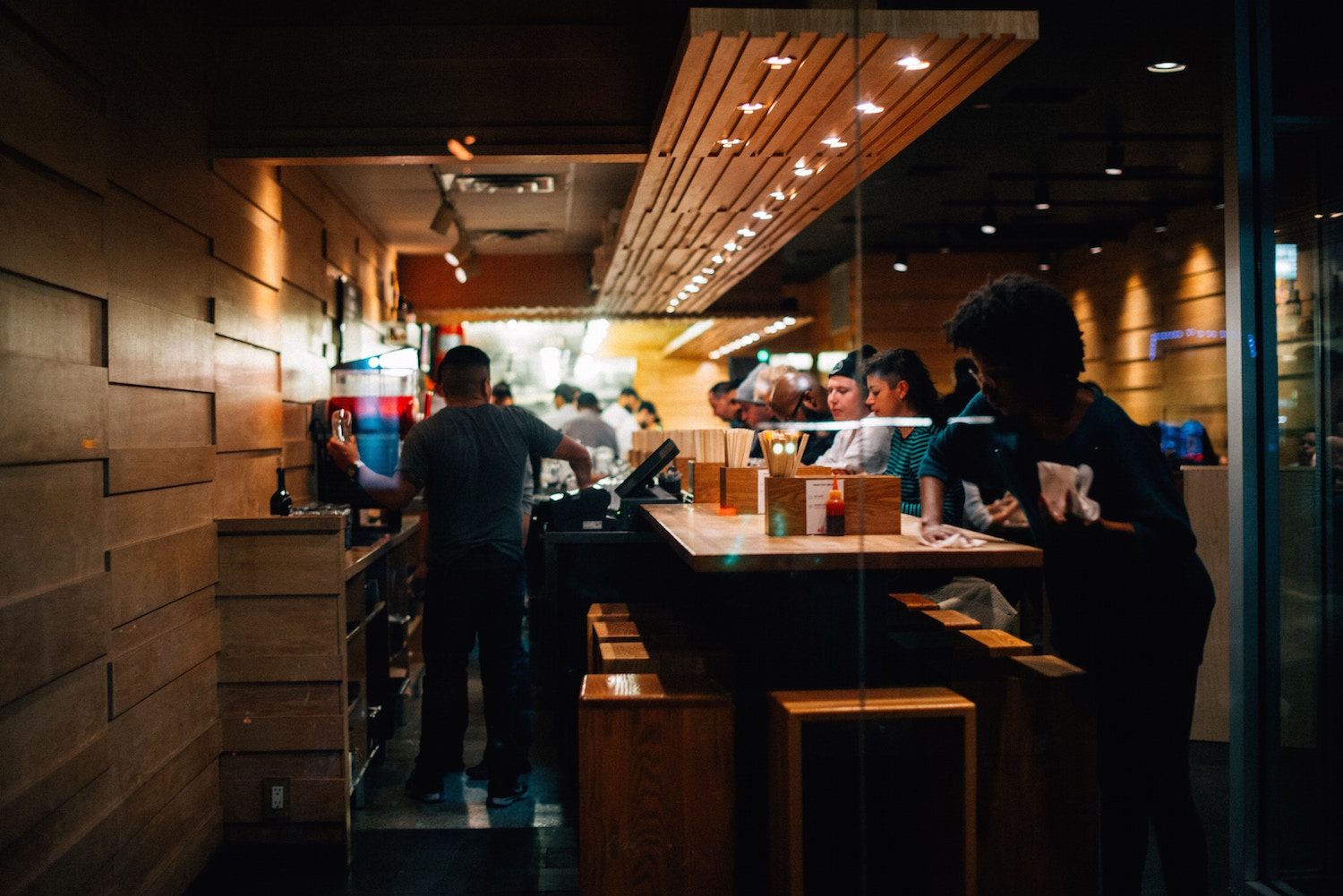 Ramen restaurant with bar seating and solo diners