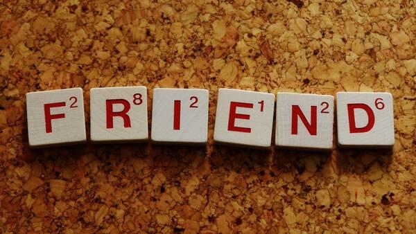 Scrabble letters FRIEND