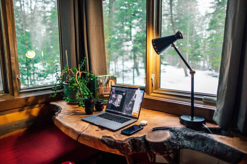 remote work office with forest view