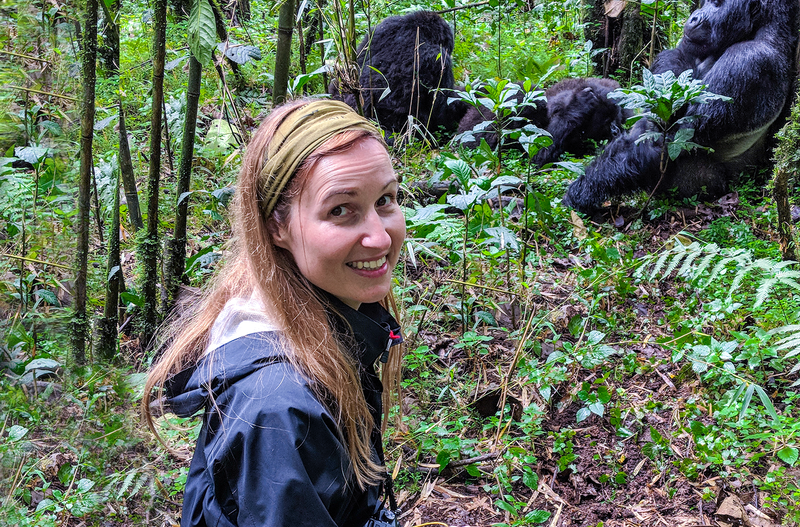 Community manager for solo female travellers community Mar Pages observing gorillas in Rwanda